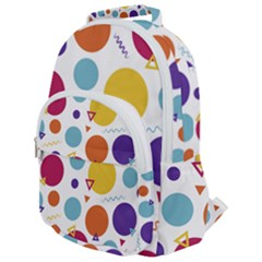Background Polka Dot Rounded Multi Pocket Backpack