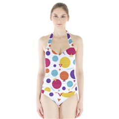 Background Polka Dot Halter Swimsuit
