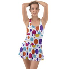 Background Polka Dot Ruffle Top Dress Swimsuit