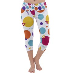 Background Polka Dot Capri Yoga Leggings