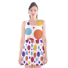Background Polka Dot Scoop Neck Skater Dress