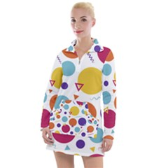 Background Polka Dot Women s Long Sleeve Casual Dress