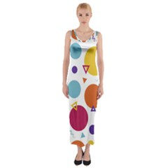 Background Polka Dot Fitted Maxi Dress