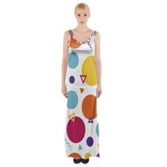 Background Polka Dot Maxi Thigh Split Dress