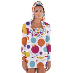 Background Polka Dot Long Sleeve Hooded T-shirt