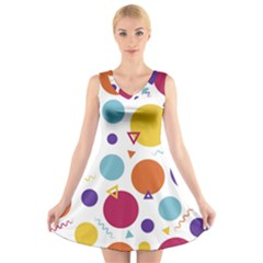 Background Polka Dot V-Neck Sleeveless Dress