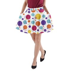 Background Polka Dot A-Line Pocket Skirt