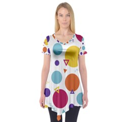 Background Polka Dot Short Sleeve Tunic