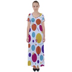 Background Polka Dot High Waist Short Sleeve Maxi Dress