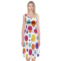 Background Polka Dot Midi Sleeveless Dress