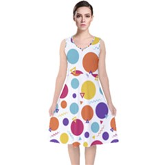 Background Polka Dot V-Neck Midi Sleeveless Dress