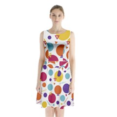 Background Polka Dot Sleeveless Waist Tie Chiffon Dress