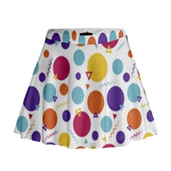 Background Polka Dot Mini Flare Skirt