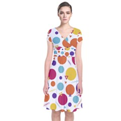 Background Polka Dot Short Sleeve Front Wrap Dress