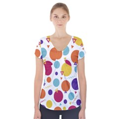 Background Polka Dot Short Sleeve Front Detail Top