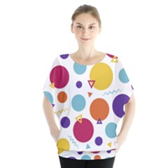 Background Polka Dot Batwing Chiffon Blouse