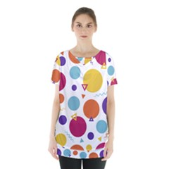 Background Polka Dot Skirt Hem Sports Top