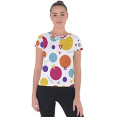 Background Polka Dot Short Sleeve Sports Top