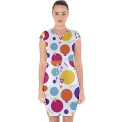 Background Polka Dot Capsleeve Drawstring Dress
