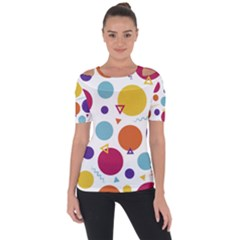 Background Polka Dot Shoulder Cut Out Short Sleeve Top