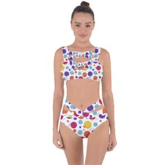 Background Polka Dot Bandaged Up Bikini Set