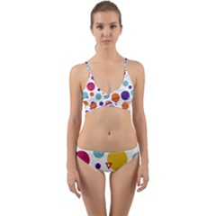 Background Polka Dot Wrap Around Bikini Set