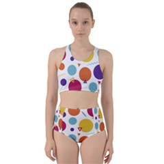 Background Polka Dot Racer Back Bikini Set