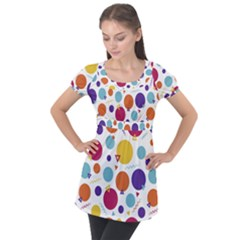 Background Polka Dot Puff Sleeve Tunic Top