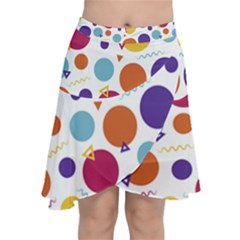 Background Polka Dot Chiffon Wrap Front Skirt