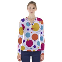 Background Polka Dot V-Neck Long Sleeve Top