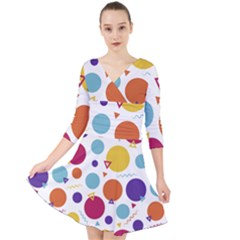 Background Polka Dot Quarter Sleeve Front Wrap Dress