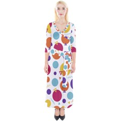 Background Polka Dot Quarter Sleeve Wrap Maxi Dress