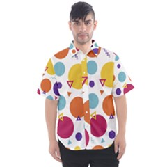 Background Polka Dot Men s Short Sleeve Shirt