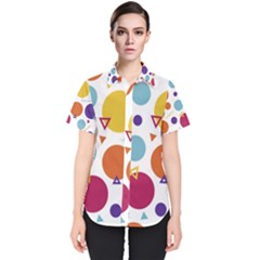 Background Polka Dot Women s Short Sleeve Shirt