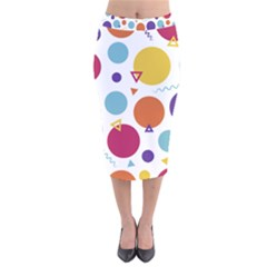 Background Polka Dot Velvet Midi Pencil Skirt