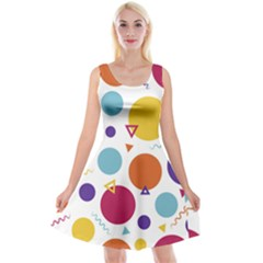 Background Polka Dot Reversible Velvet Sleeveless Dress