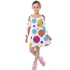 Background Polka Dot Kids  Long Sleeve Velvet Dress