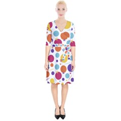 Background Polka Dot Wrap Up Cocktail Dress