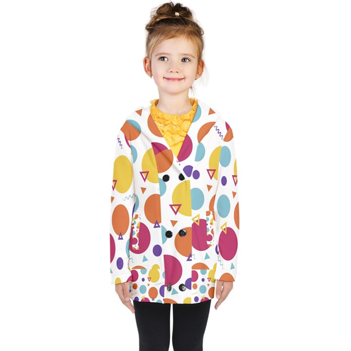 Background Polka Dot Kids  Double Breasted Button Coat