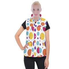 Background Polka Dot Women s Button Up Vest