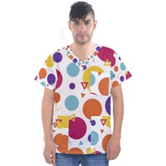 Background Polka Dot Men s V-Neck Scrub Top