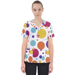 Background Polka Dot Women s V-Neck Scrub Top