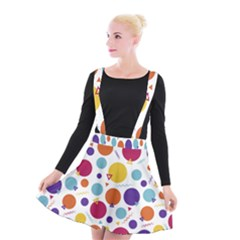 Background Polka Dot Suspender Skater Skirt