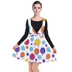 Background Polka Dot Plunge Pinafore Dress