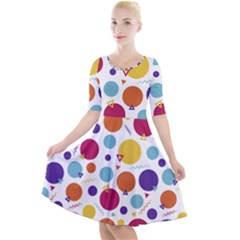 Background Polka Dot Quarter Sleeve A-Line Dress