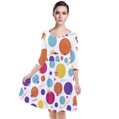 Background Polka Dot Quarter Sleeve Waist Band Dress