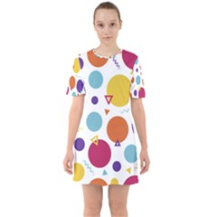 Background Polka Dot Sixties Short Sleeve Mini Dress
