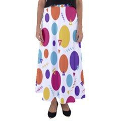 Background Polka Dot Flared Maxi Skirt