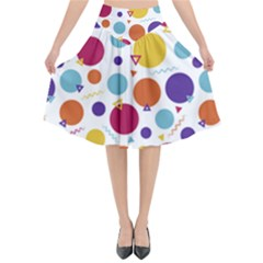Background Polka Dot Flared Midi Skirt