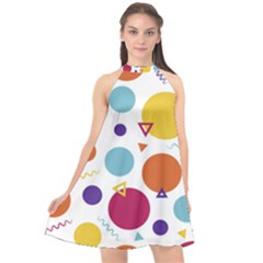 Background Polka Dot Halter Neckline Chiffon Dress